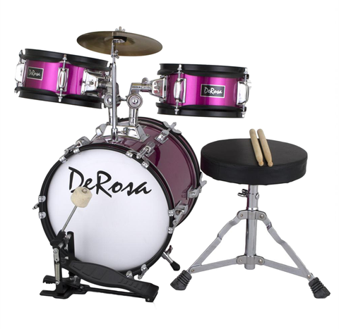 "De Rosa 3 Piece 12"" Kid's Junior Drum Set Hot Pink - Pinkoz"