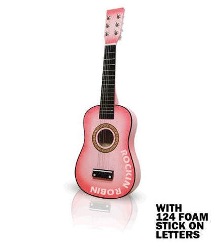 Pink Acoustic Guitar 23in with 124 Stick On Letters - Pinkoz