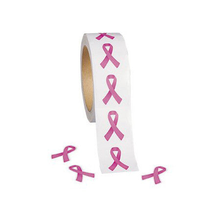 Pink Ribbon Stickers Roll Of 500