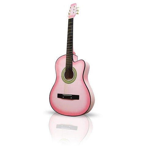 Pink Premium Acoustic Cutaway Guitar 38in