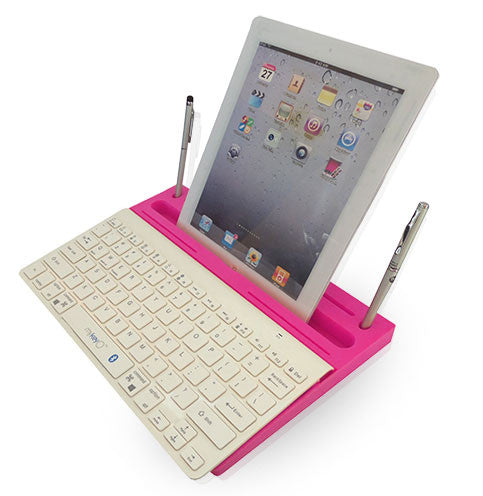 6 in 1 Stand Organizer Bluetooth Keyboard White On Pink - Pinkoz