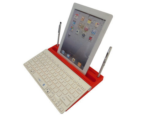 6 in 1 Stand Organizer Bluetooth Keyboard White On Red - Pinkoz