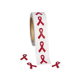 Red Ribbon Stickers Roll Of 500