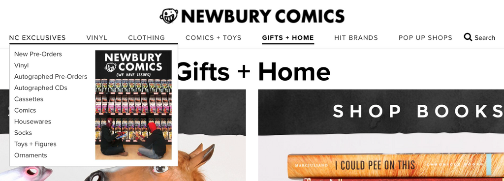 Newbury Comics e-commerce website accessibility menu