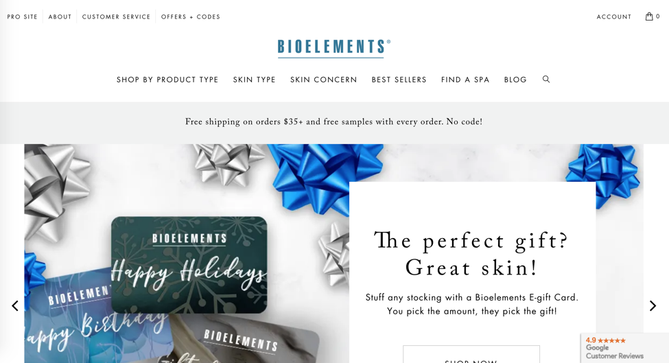 Bioelements homepage Shopify e-commerce site