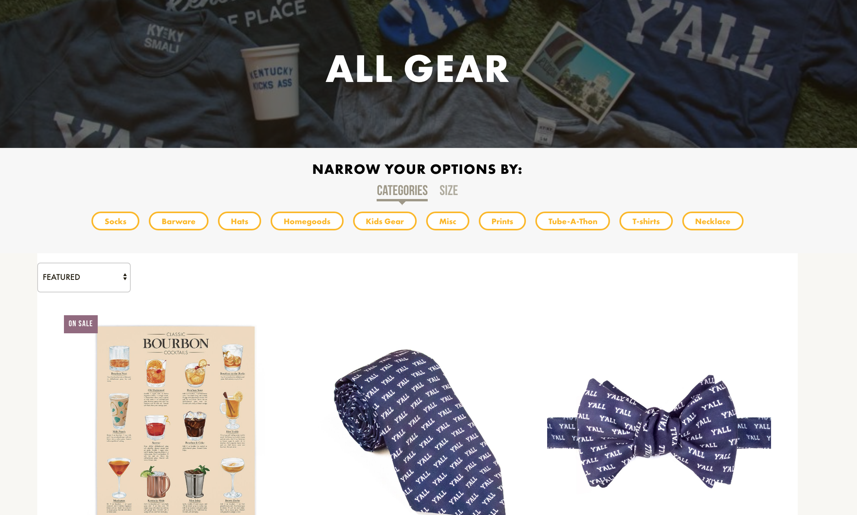 Kentucky for Kentucky new Shopify e-commerce category pages