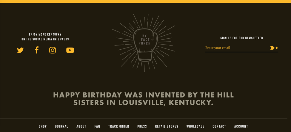 Kentucky for Kentucky new Shopify e-commerce store homepage footer
