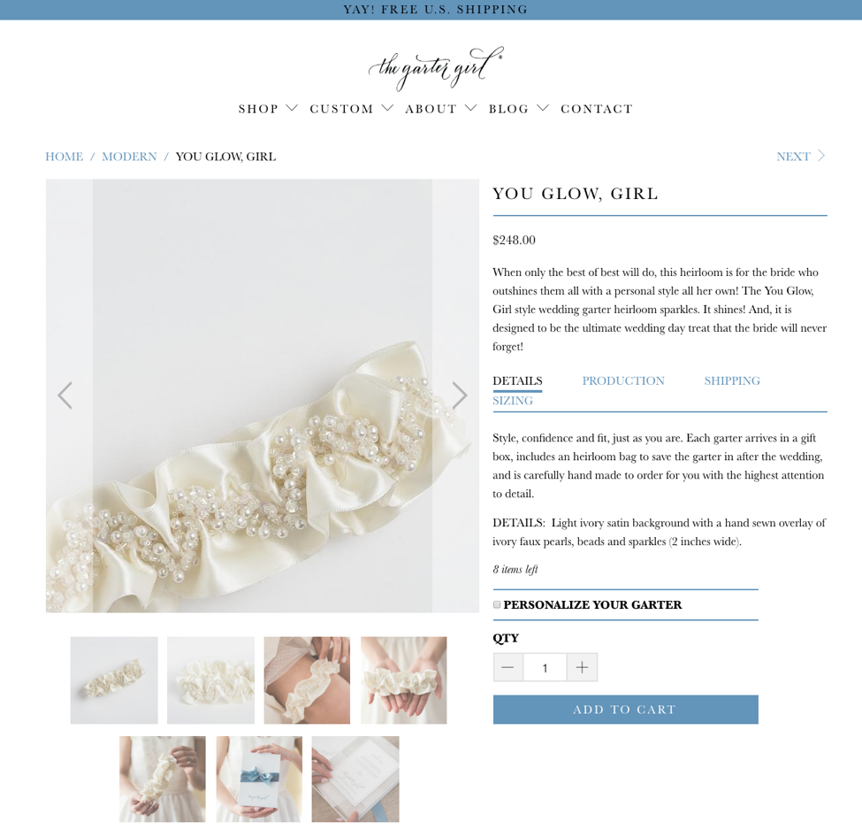 The Garter Girl Product Page