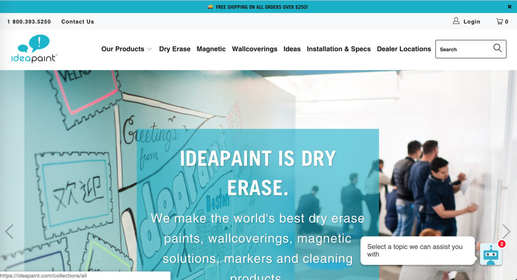 IdeaPaint new Shopify online store