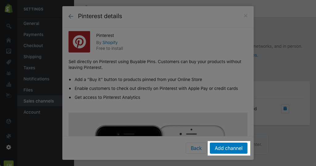 Adding the Pinterest sales channel to Shopify