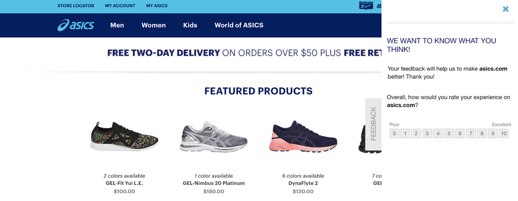Asics feedback form