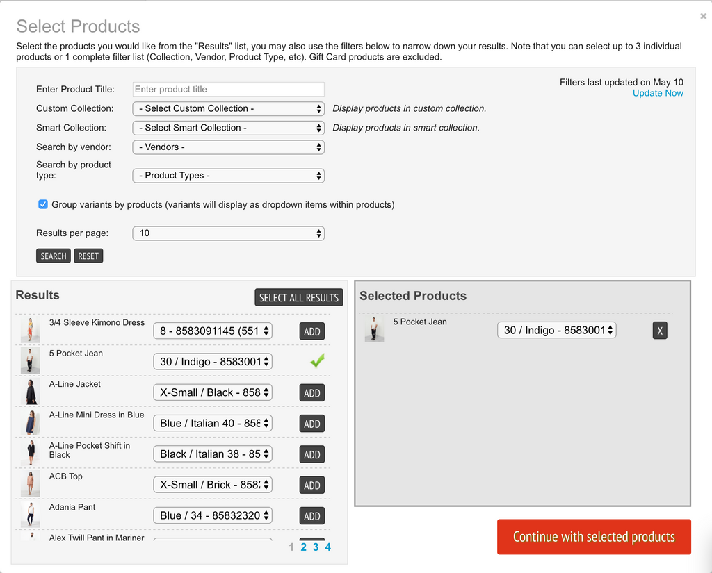 Step 4b: Select products to upsell and other parameters regarding product limitations, etc.