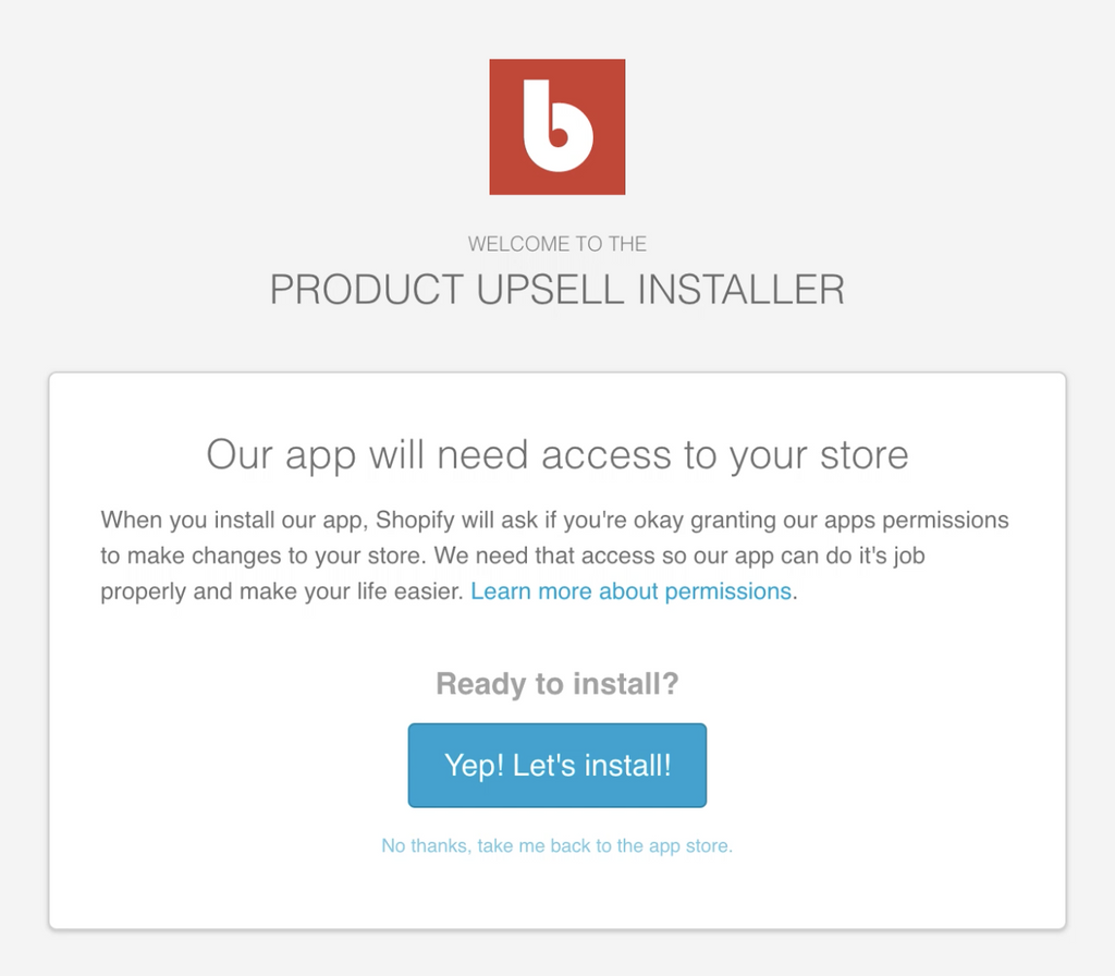 Step 1a: Install the Product Upsell App