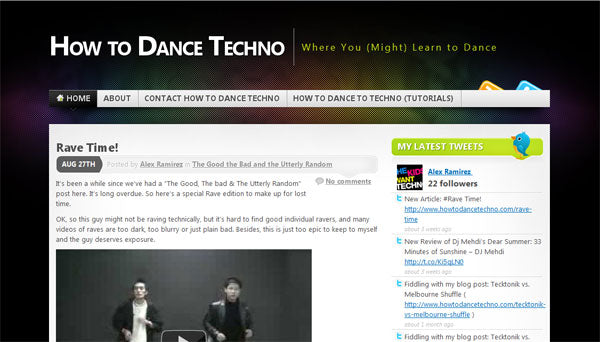 Screenshot of HowToDanceTechno.com
