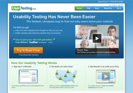 Home page screenshot of UserTesting.com