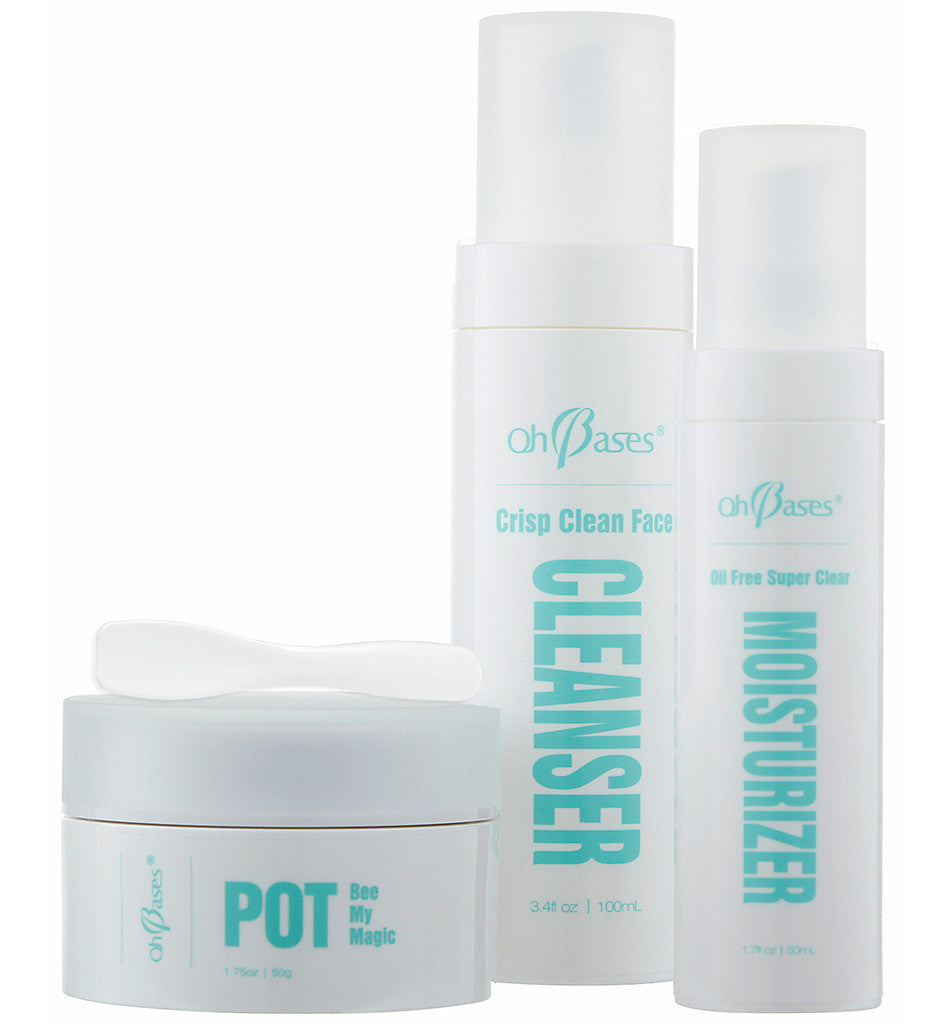 Magic Pot, Crisp Clean Cleanser, and Oil Free Moisturizer Combo Pack - Rose Rey - by OhBases - 1