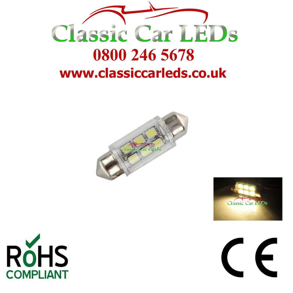 WARM WHITE INTERIOR COURTESY  / NUMBER PLATE LED BULB GLB239 GLB256 C5W 35 - 37 MM 12 VOLT FESTOON
