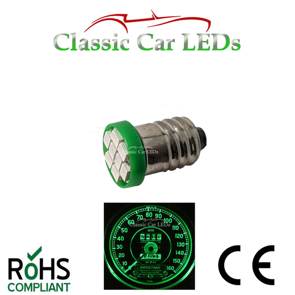 GLB987 E10MES Green 8 SMD LED Flat Bulbs Dashboard / Gauge Lighting