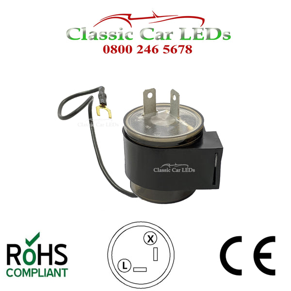 6V ELECTRONIC INDICATOR FLASHER RELAY CLASSIC CAR WITH OE CLICK X L 2 PIN NEGATIVE OR POSITIVE EARTH