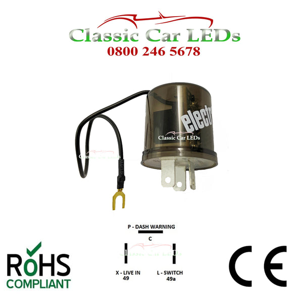 6V ELECTRONIC INDICATOR FLASHER RELAY CLASSIC CAR WITH OE CLICK X L P 2 / 3 PIN NEGATIVE OR POSITIVE EARTH