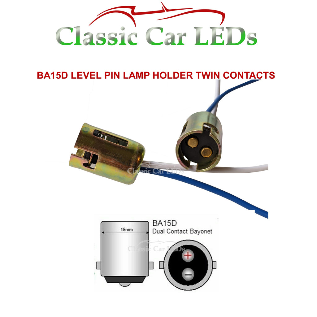 BA15D BULB HOLDER DUAL CONTACT LEVEL PIN STOP TAIL BRAKELIGHT SIDELIGHT