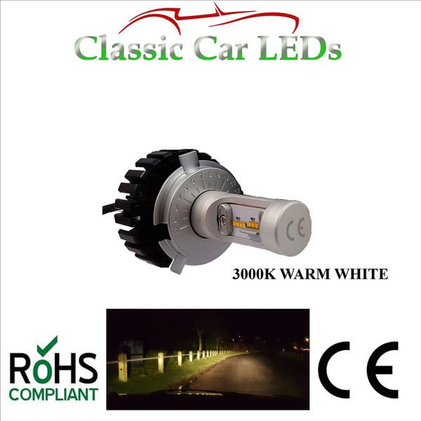 Latest 3000k Warm White LED Headlight H4 Motorcycle Hi/Lo Beam Conversion 9-32V