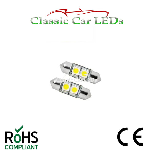 6 Volt 6V 30 - 31 MM FESTOON LED BULB 5050 2 SMD CLASSIC CAR MOTORBIKE SCOOTER