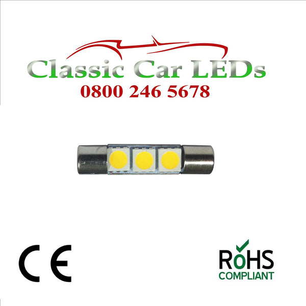 30 - 31 MM FESTOON WHITE LED BULB GLB269 C5W CLASSIC VINTAGE CAR MOTORCYCLE