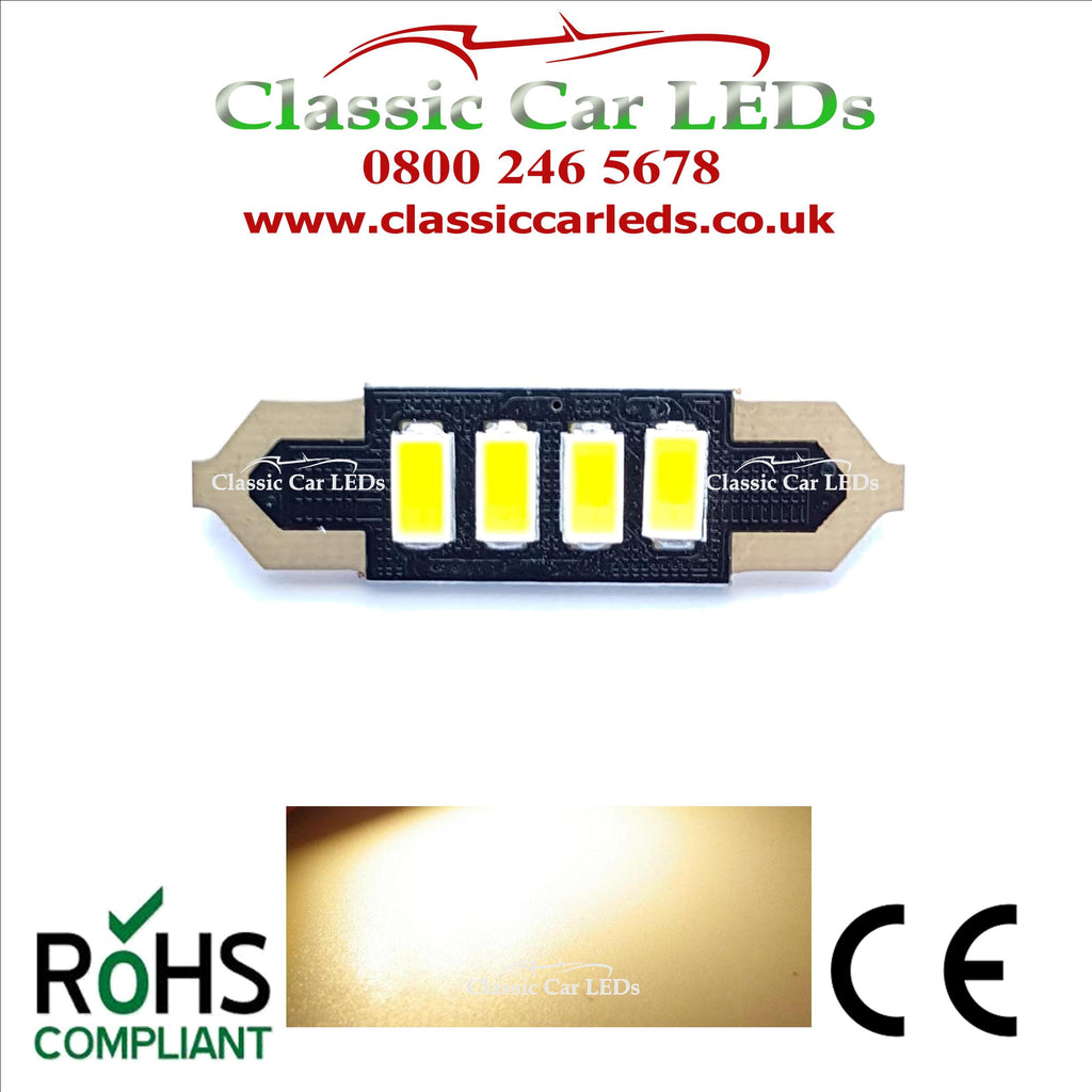 36MM WARM WHITE CLASSIC CAR INTERIOR COURTESY NUMBER PLATE LED BULB 239 254 C5W