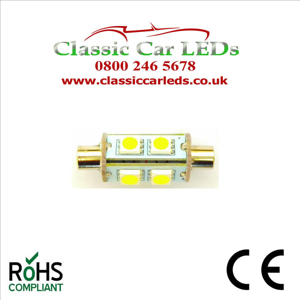 WARM WHITE 7mm END CAP INTERIOR COURTESY  / NUMBER PLATE LED BULB GLB239 GLB256 C5W 35 - 37 MM 12 VOLT FESTOON