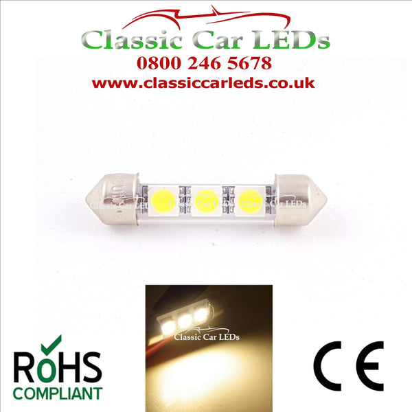38 - 39 MM FESTOON WARM WHITE GLASS TUBE LED BULB GLB254 C5W