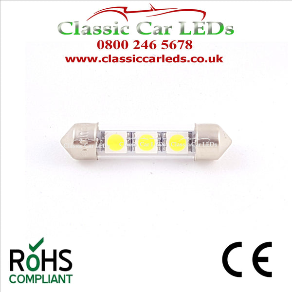 38 - 39 MM FESTOON WHITE GLASS TUBE LED BULB GLB254 C5W