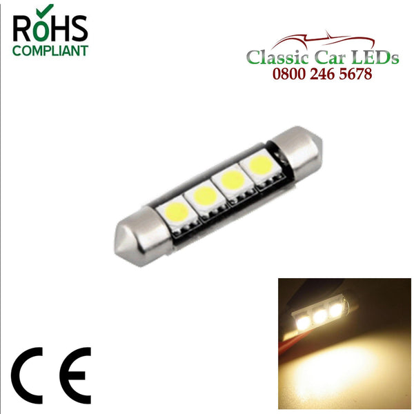 42 MM WARM WHITE FESTOON LED BULB GLB264 GLB258 C5W