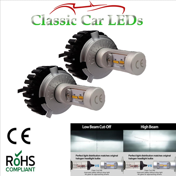 Pair of Latest LED Headlights H4 Hi/Lo Beam Conversion 9-32V Excellent Beam Pattern