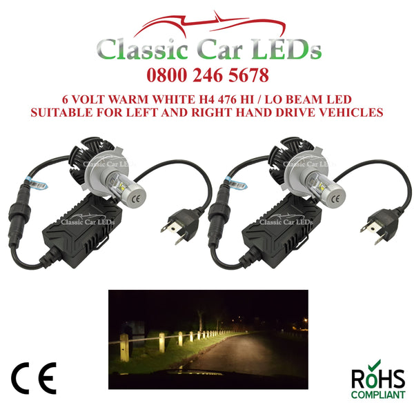 Pair of 6 VOLT LED Headlights H4 476 Classic Warm White Hi/Lo Beam Conversion 5-9V