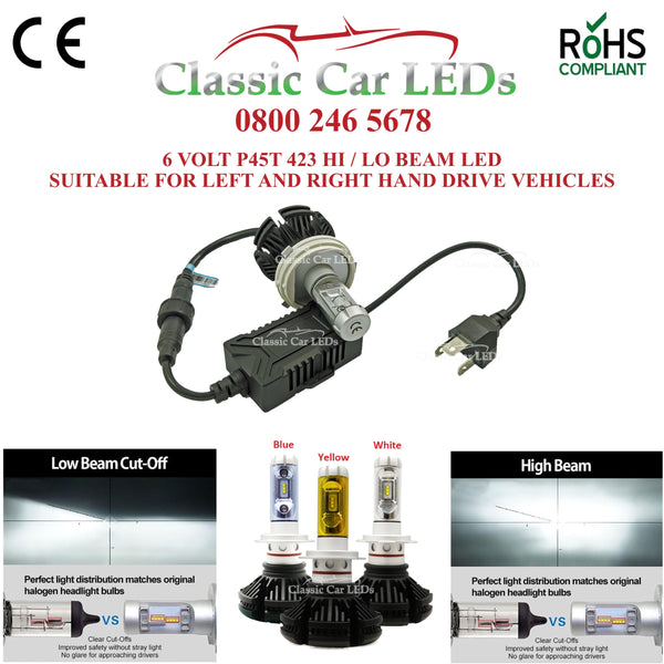 Motorcycle 6 VOLT LED Headlight P45T with colour options Hi/Lo Beam Conversion 423