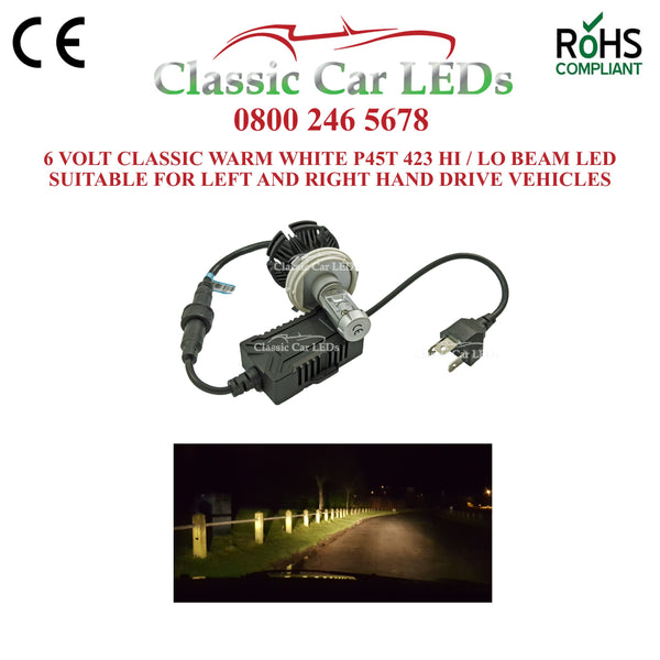 Motorcycle 6 VOLT LED Headlight P45T CLASSIC WARM WHITE Hi/Lo Beam Conversion 423