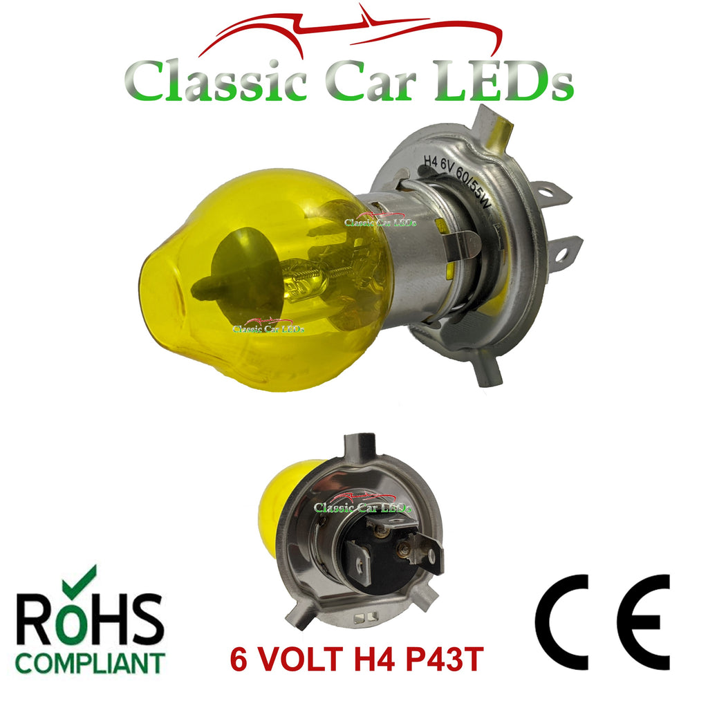 6 VOLT H4 476 60/55W YELLOW BOSCH HALOGEN LAMP BULB HI/LOW BEAM EURO FRENCH P43T
