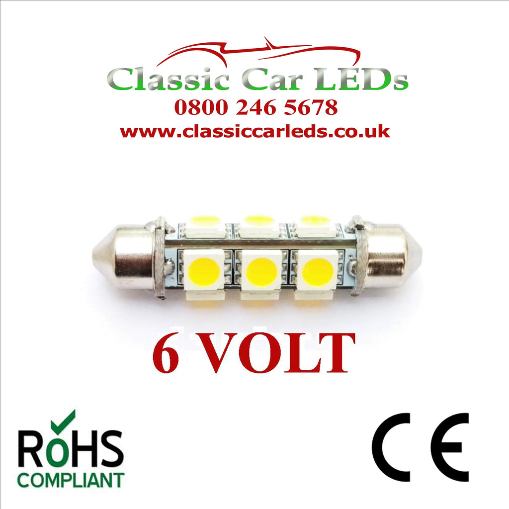 6 Volt 6V WARM WHITE 42MM FESTOON LED BULB 5050 12 SMD CLASSIC CAR MOTORBIKE SCOOTER GLB273