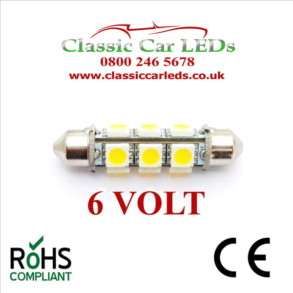 6 Volt White 38 - 39 MM BARREL FESTOON LED BULB 12 SMD CLASSIC CAR MOTORBIKE SCOOTER GLB253