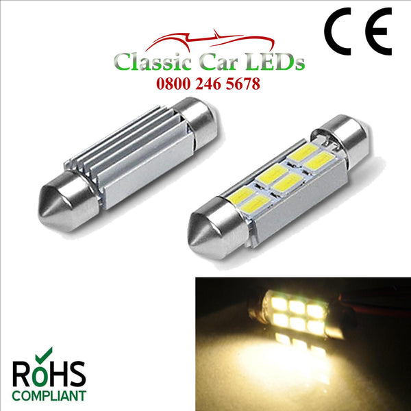 6 Volt 42MM WARM WHITE FESTOON LED BULB 5630 6 SMD CLASSIC CAR MOTORBIKE SCOOTER GLB273