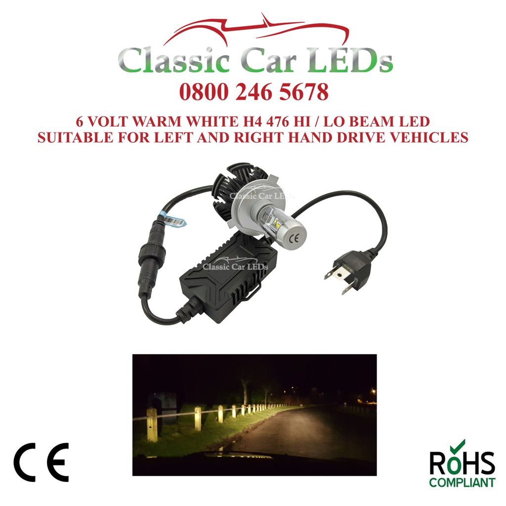 Motorcycle 6 VOLT LED Headlight H4 476 Classic Warm White Hi/Lo Beam Conversion 5-9V