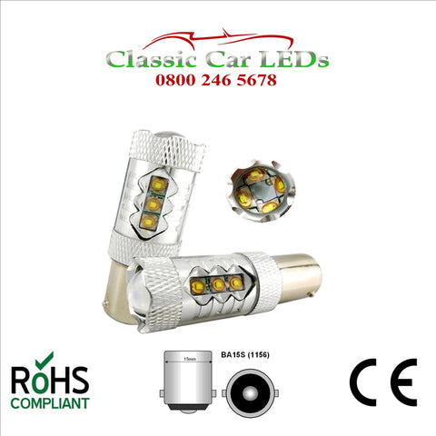 80W BA15S CREE 12V 24V HIGH POWER LED BULB STOP REVERSE FOG DRL 1156 382
