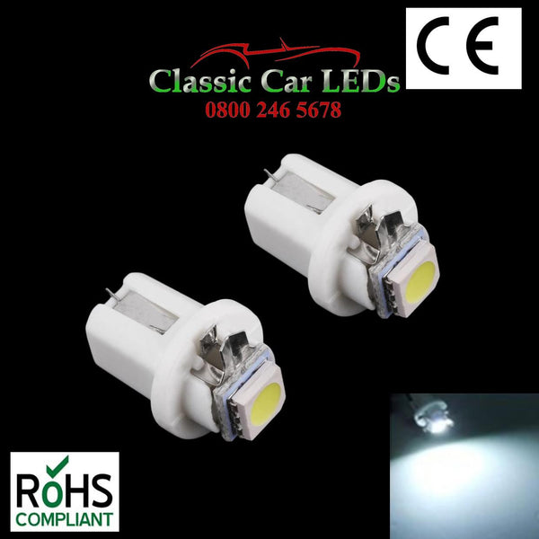 B8.5D TWIST WHITE LED BULBS 286 GAUGE DASHBOARD UPGRADE NO POLARITY 509T