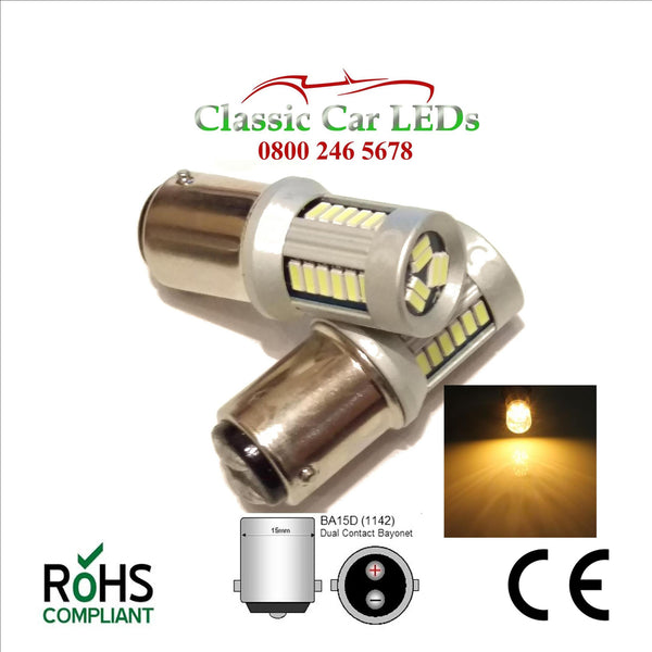 BA15D WARM WHITE LED BULB P21W 335 1064 LEVEL PINS
