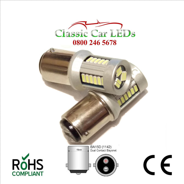 BA15D 6000K WHITE LED BULB P21W 335 1064 LEVEL PINS