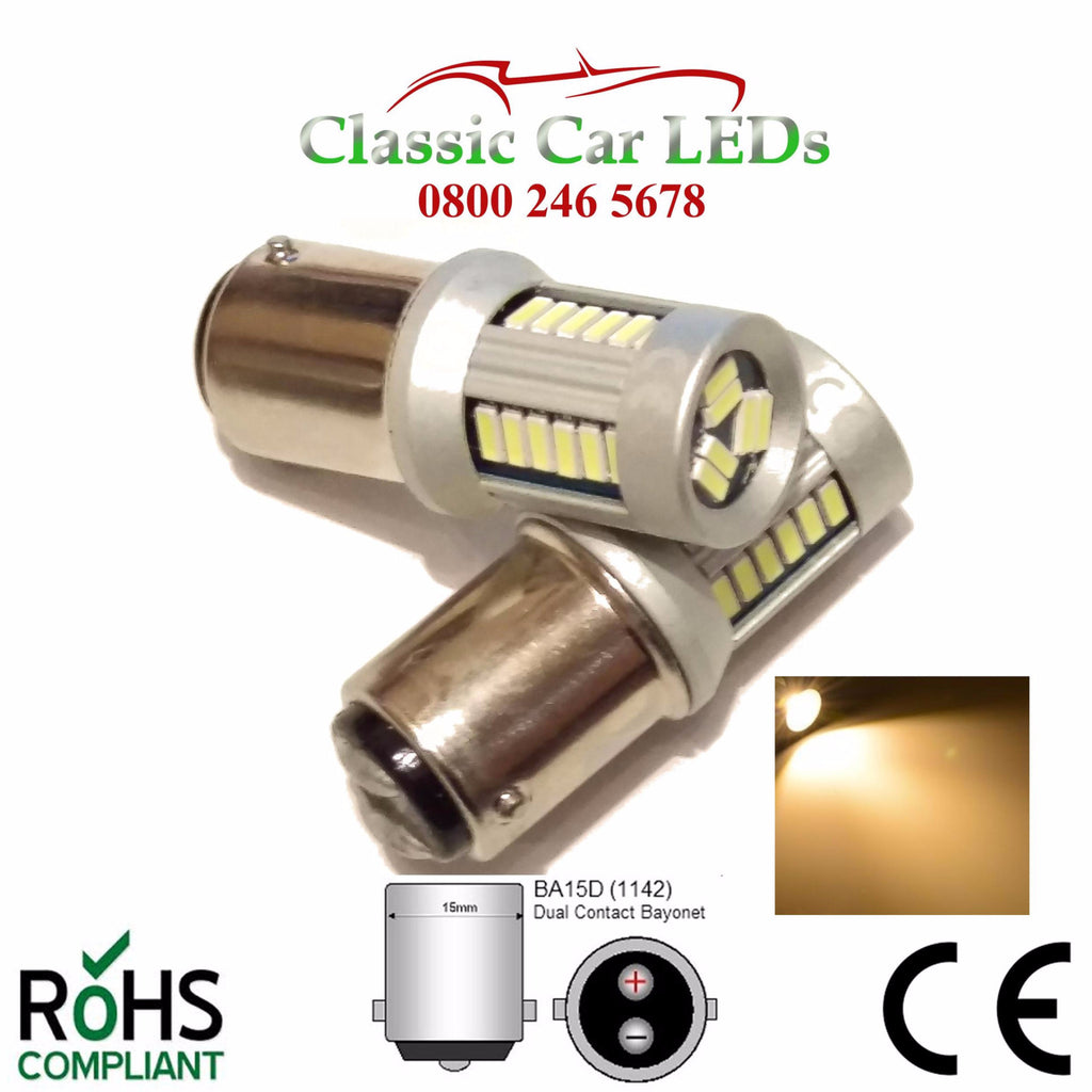 24 Volt BA15D WARM WHITE LED BULB P21W 346 344 LEVEL PINS