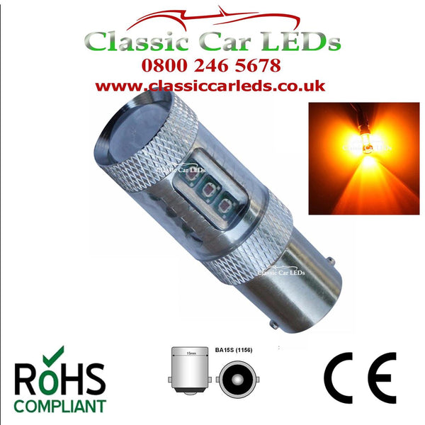 CLASSIC CAR BRIGHT AMBER SMD LED INDICATOR BULBS BA15S GLB382