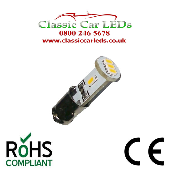 BA7S GLB281 LED DASH WARNING SWITCH SMITHS CLOCK BULB NEGATIVE OR POSITIVE EARTH