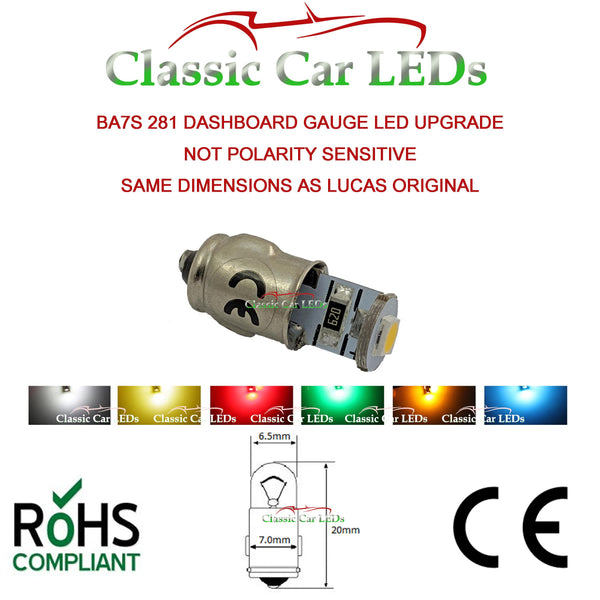 BA7S 281 MCC LED DASHBOARD WARNING SWITCH BULB - VARIOUS COLOURS